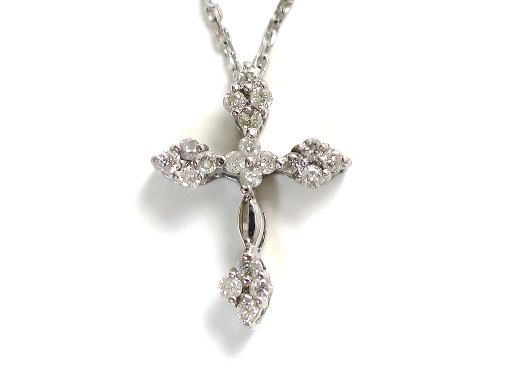 ジュエリー ホワイトゴールド ダイヤモンド クロス ネックレス ダイヤ0.20ct