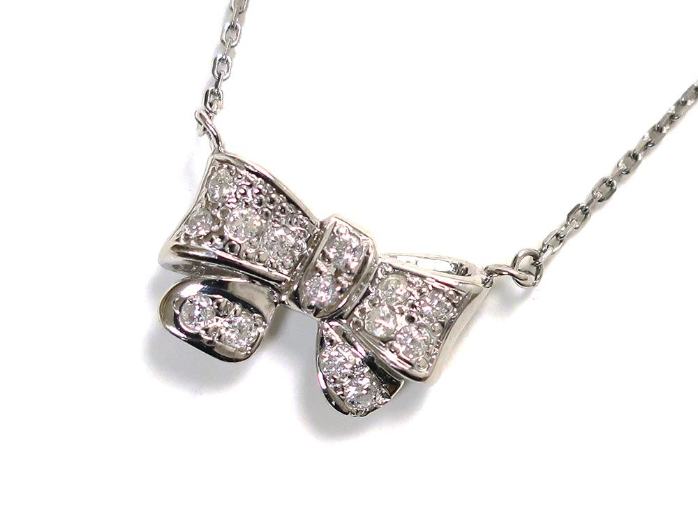 ジュエリー プラチナ ダイヤモンド リボン ネックレス ダイヤ0.24ct