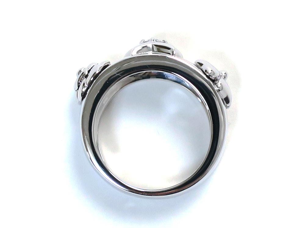 シャネル スリーシンボルリング 1Pダイヤモンド ホワイトゴールド