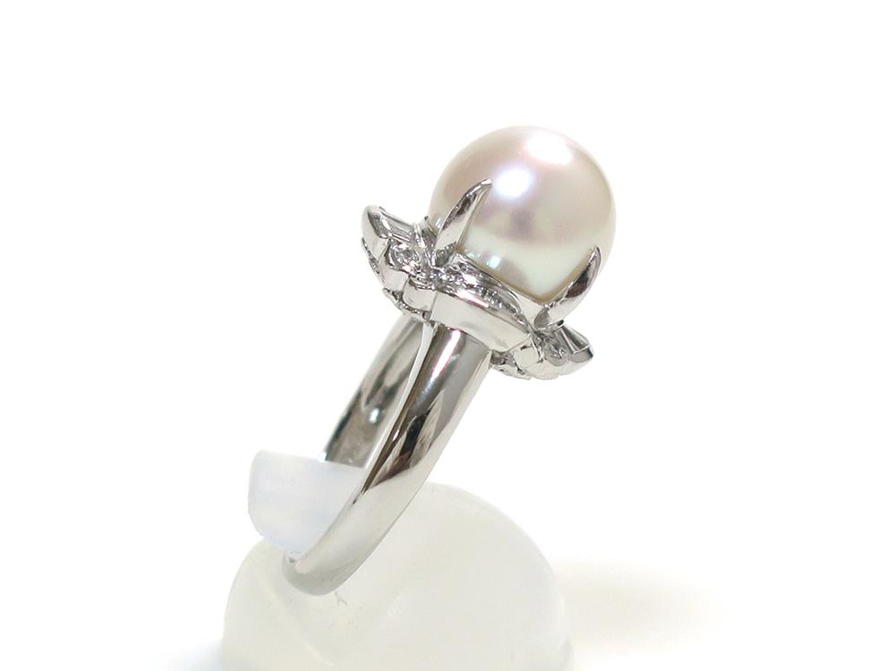 ジュエリー プラチナ パール ダイヤモンド リング パール10mm 側面02