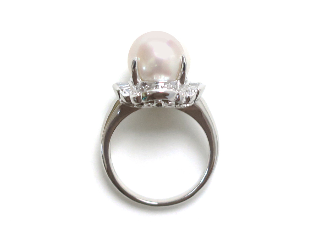 ジュエリー プラチナ パール ダイヤモンド リング パール10mm 上面