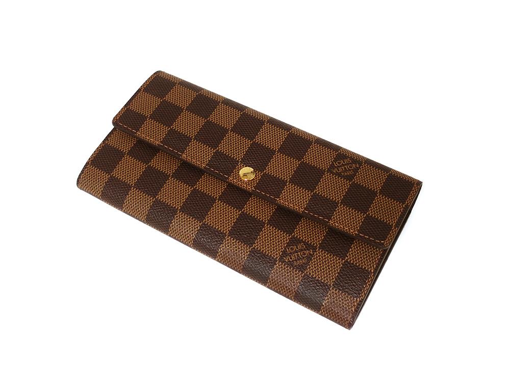 ルイヴィトン ダミエ エベヌ ポルトフォイユ・サラ 長財布 N61734 Aランク 上面