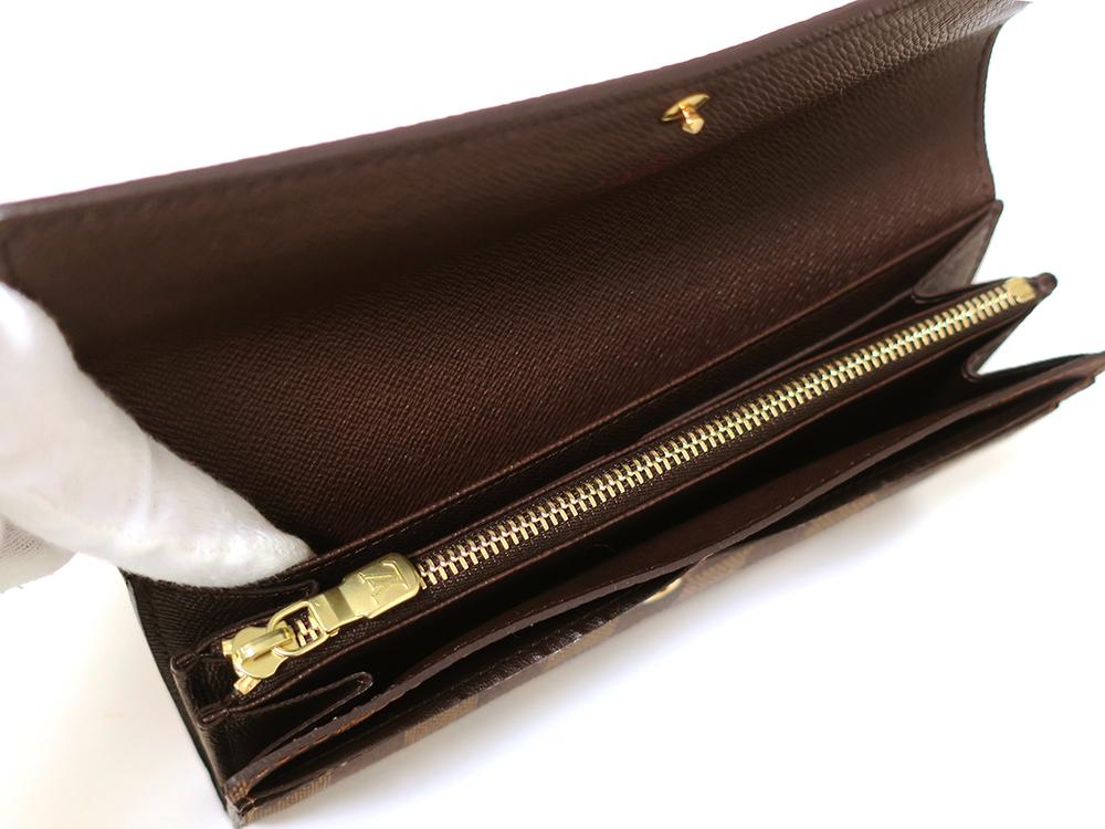 ルイヴィトン ダミエ エベヌ ポルトフォイユ・サラ 長財布 N61734 Aランク オープンポケット