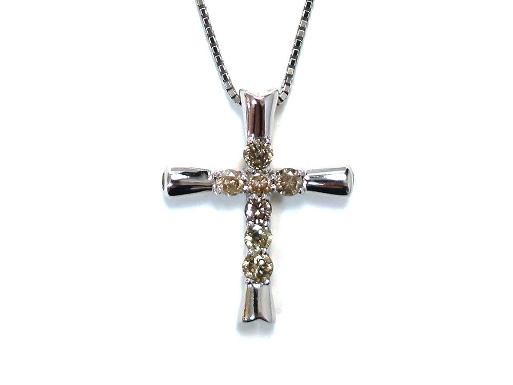 ジュエリー ホワイトゴールド ダイヤモンド クロスネックレス ダイヤ1.00ct 正面