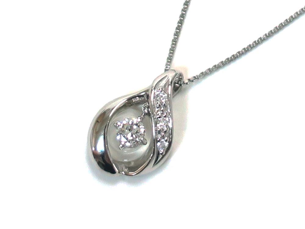 ジュエリー プラチナ ダイヤモンド スウィング ネックレス ダイヤ0.10ct トップ