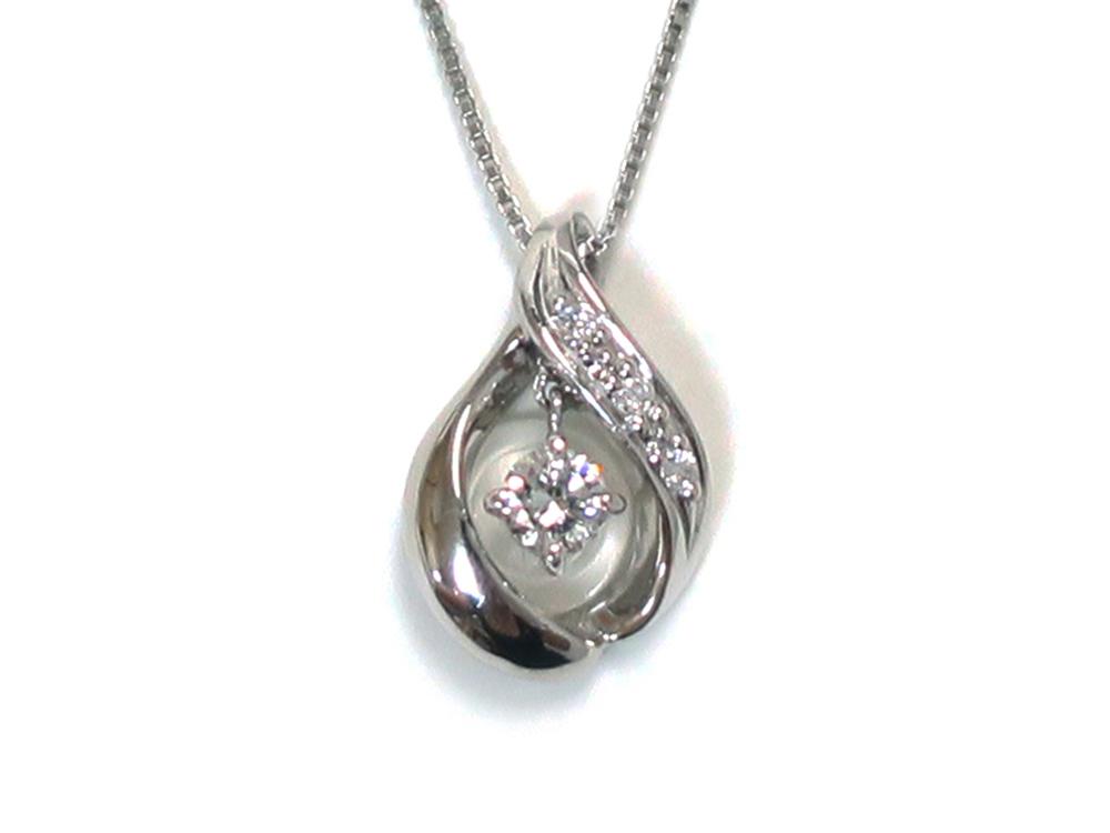 ジュエリー プラチナ ダイヤモンド スウィング ネックレス ダイヤ0.10ct 正面