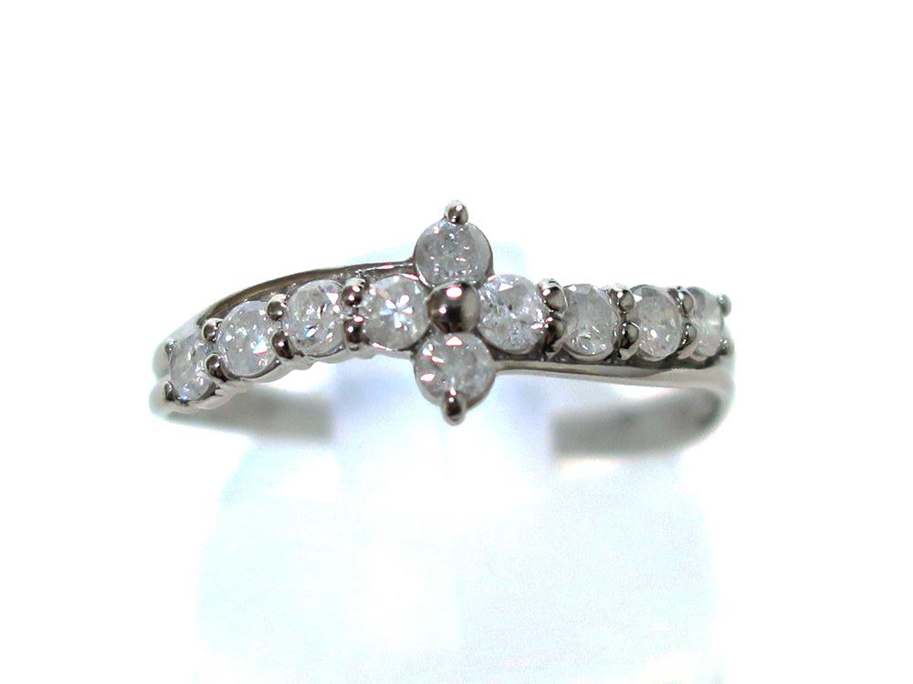 ジュエリー プラチナ ダイヤモンド リング ダイヤ0.50ct 2.1g 正面
