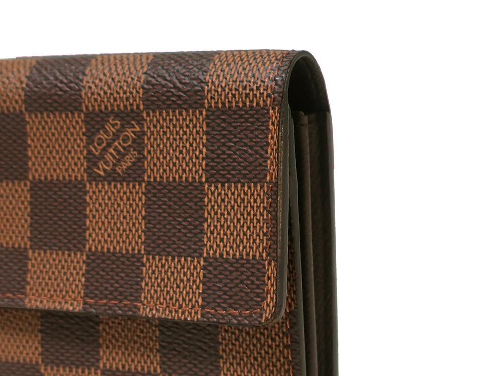 ルイヴィトン ダミエ エベヌ ポシェット・ポルト モネ クレディ 長財布 N61724 外側ダメージ02