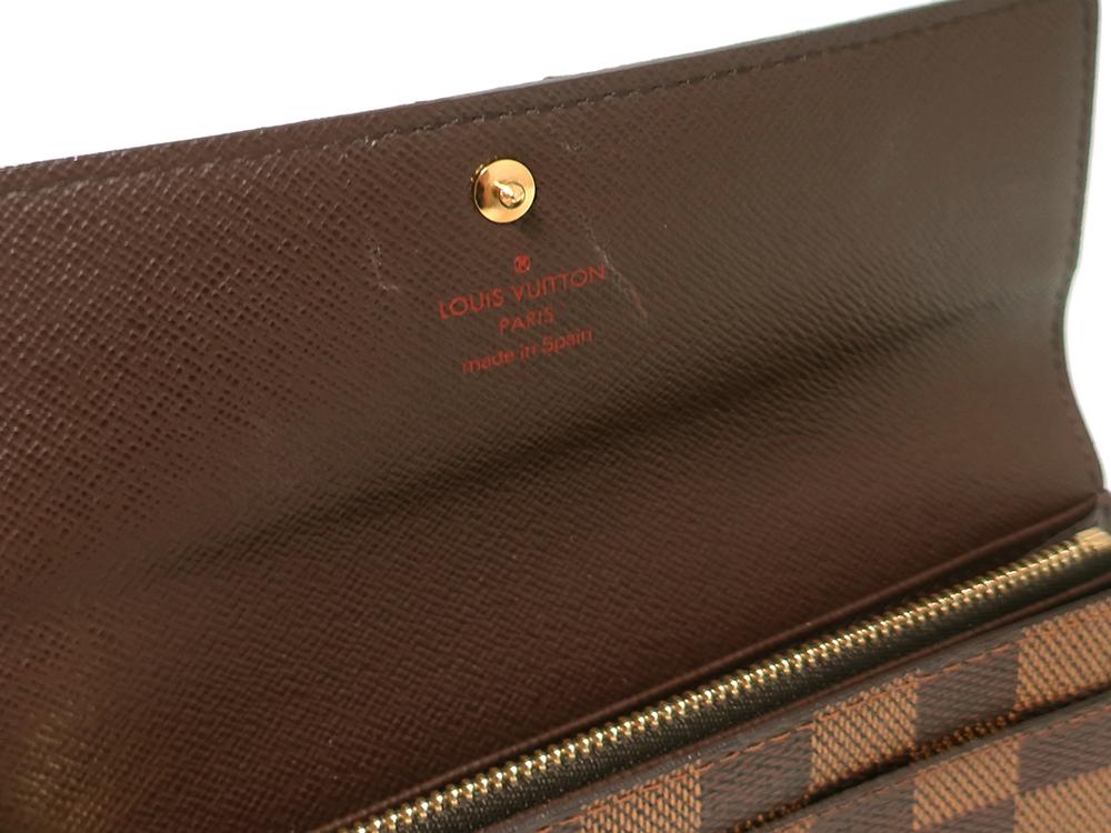 ルイヴィトン ダミエ エベヌ ポシェット・ポルト モネ クレディ 長財布 N61724 内側ダメージ