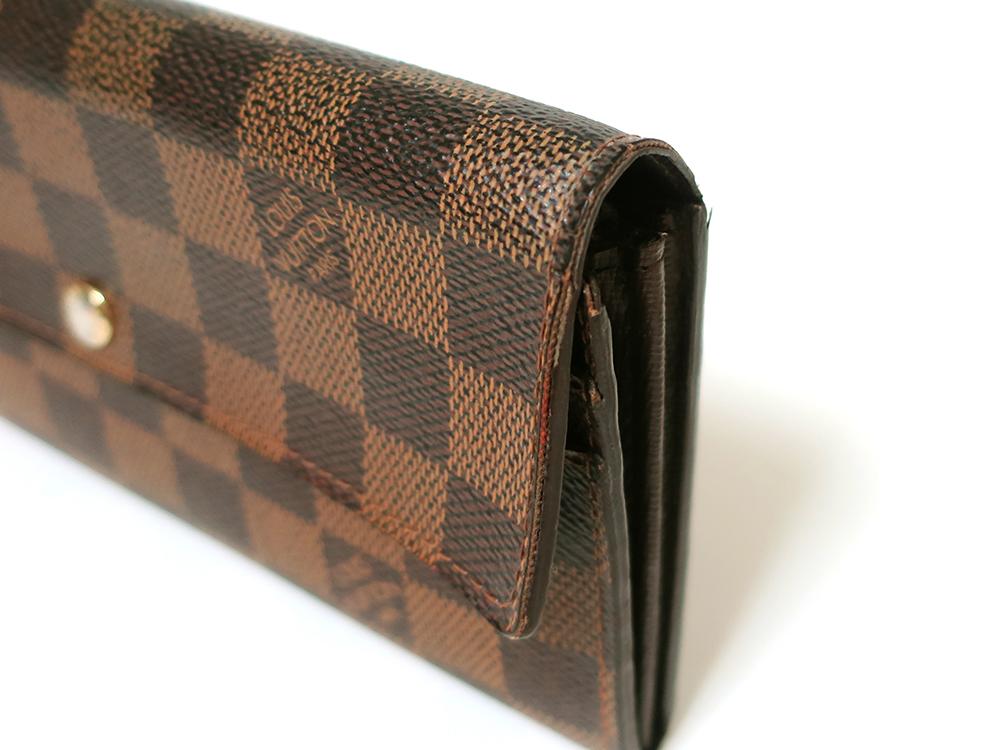 ルイヴィトン ダミエ エベヌ ポルトフォイユ・サラ 長財布 N61734 Bランク 外側ダメージ02