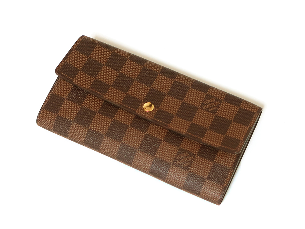 ルイヴィトン ダミエ エベヌ ポルトフォイユ・サラ 長財布 N61734 ABランク 上面