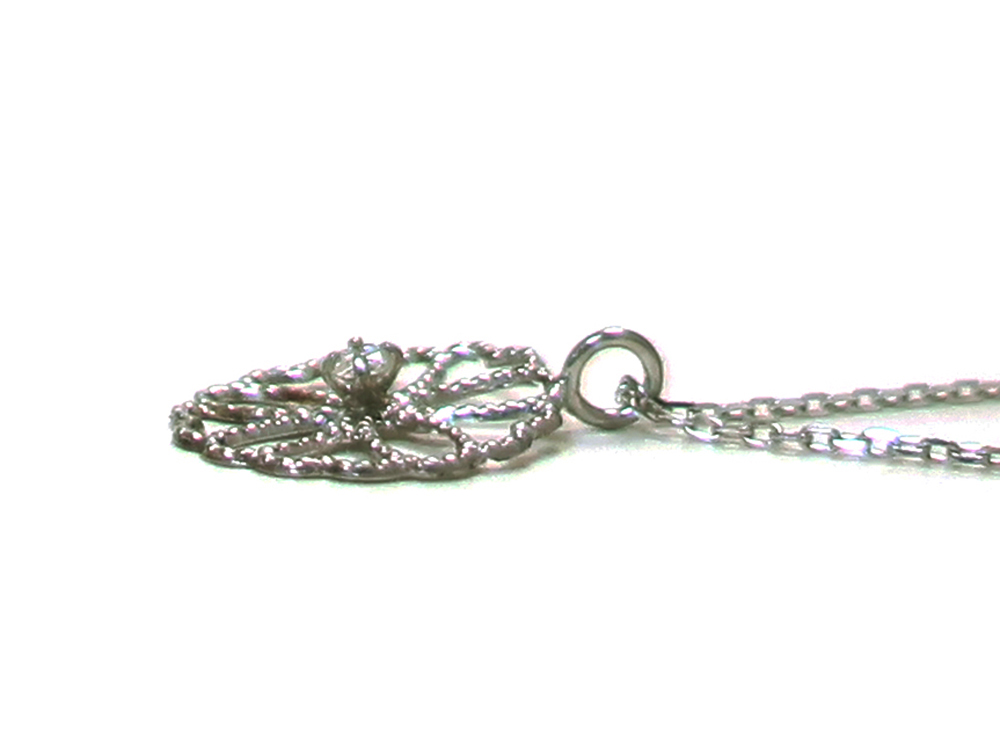 ジュエリー ホワイトゴールド ダイヤモンド ネックレス ダイヤ0.02ct 側面