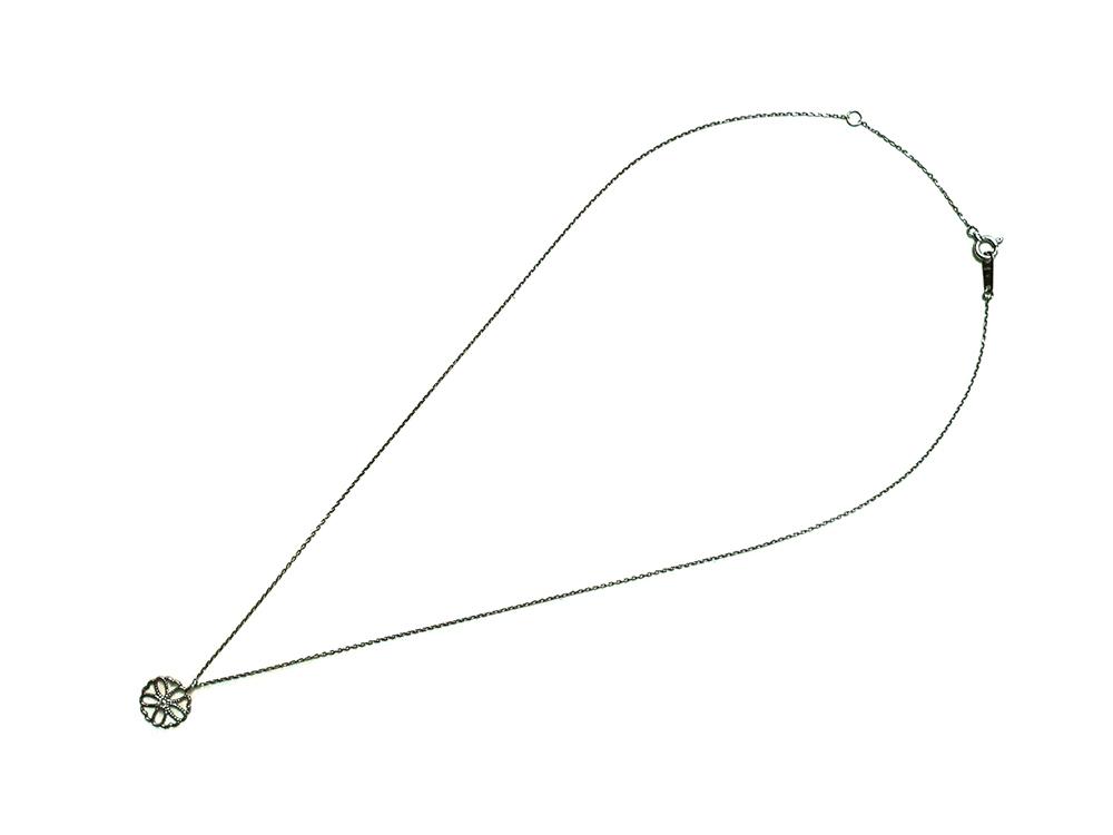 ジュエリー ホワイトゴールド ダイヤモンド ネックレス ダイヤ0.02ct 上面