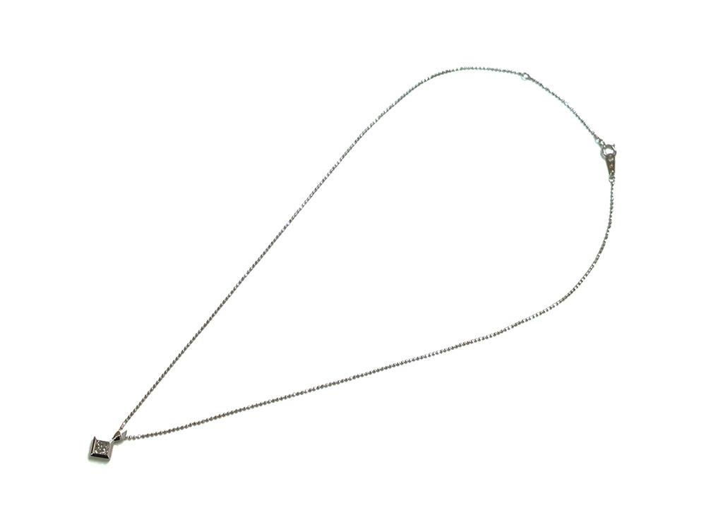 ジュエリー ホワイトゴールド ダイヤモンド ネックレス ダイヤ0.20ct 上面