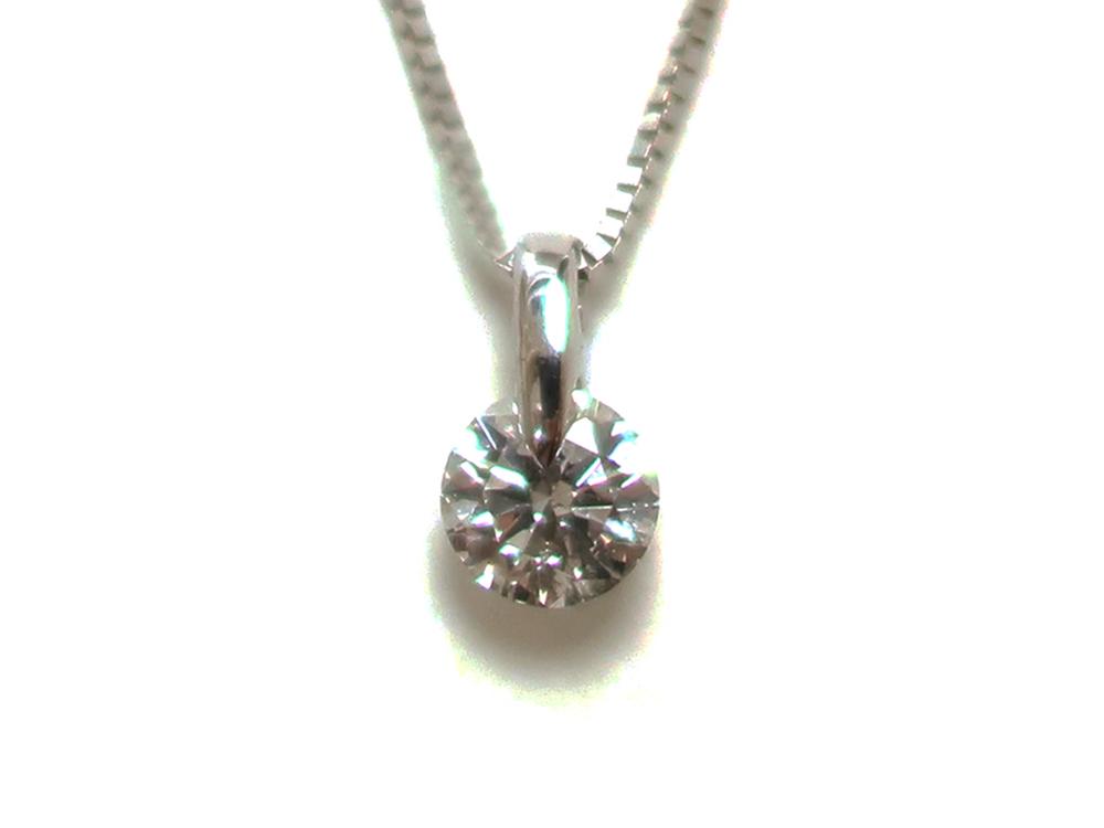 ジュエリー ホワイトゴールド ダイヤモンド ネックレス ダイヤ0.268ct 正面