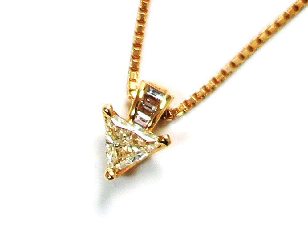 ジュエリー イエローゴールド トリリアント ダイヤモンド ネックレス ダイヤ0.47ct トップ