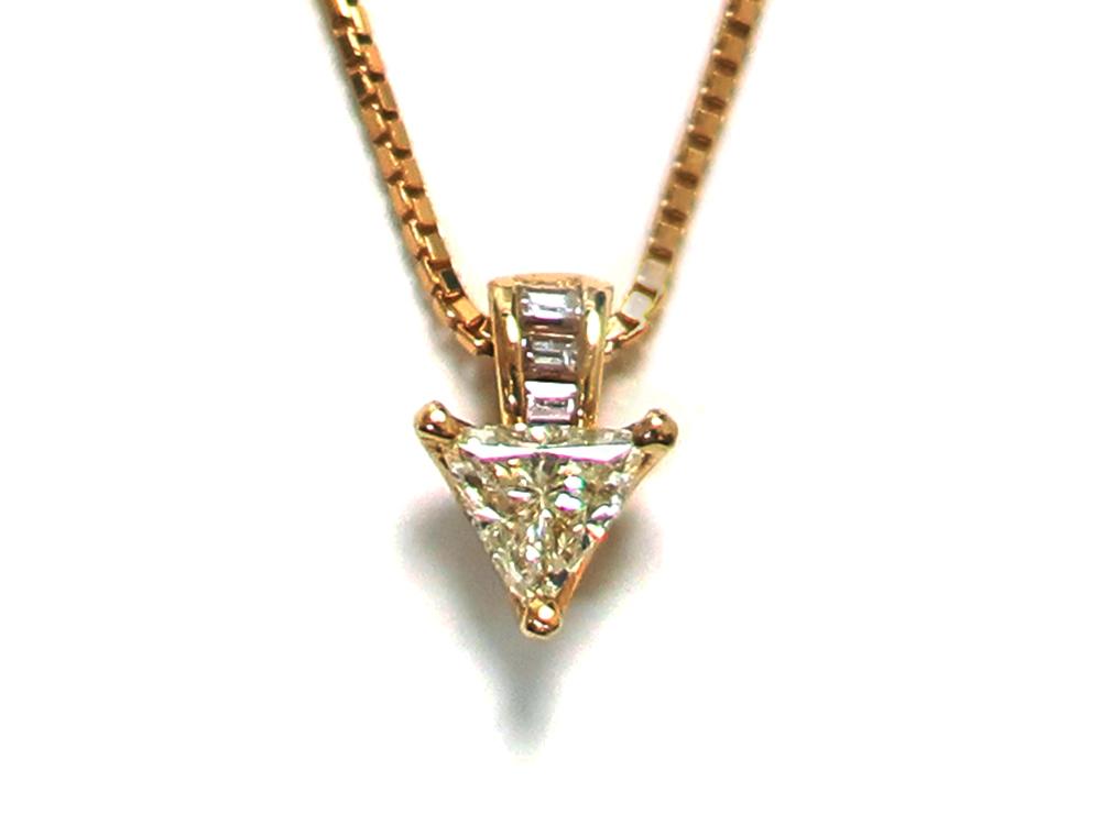 ジュエリー イエローゴールド トリリアント ダイヤモンド ネックレス ダイヤ0.47ct 正面