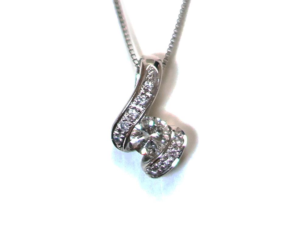 ジュエリー プラチナ ダイヤモンド ネックレス ダイヤ0.45ct 正面