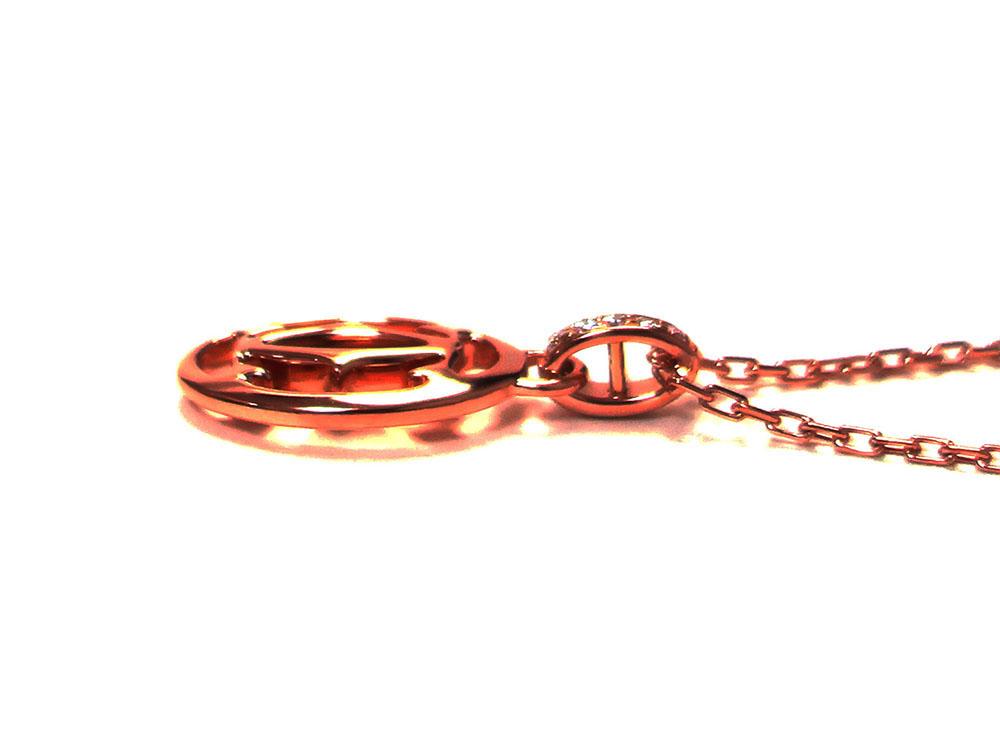 カルティエ ロゴ ドゥーブルC 5Pダイヤモンド ネックレス ピンクゴールド B7219200 側面