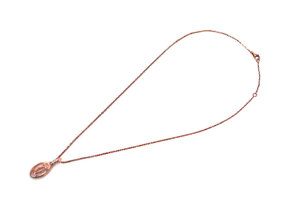 カルティエ ロゴ ドゥーブルC 5Pダイヤモンド ネックレス ピンクゴールド B7219200 全体