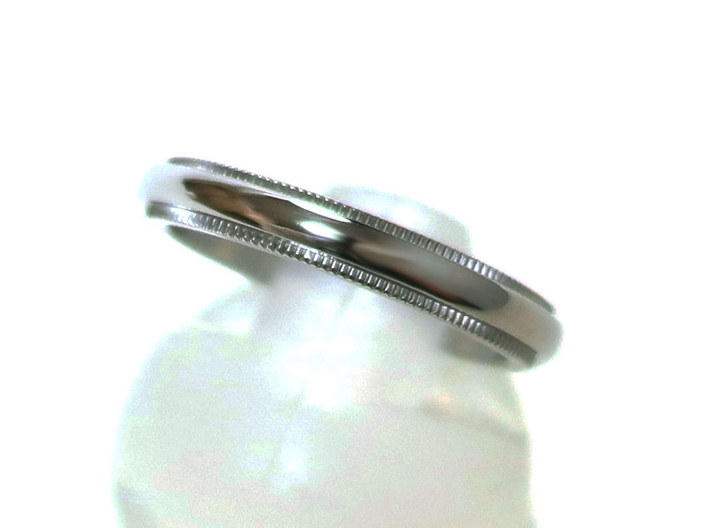 ティファニー クラシック ミルグレイン バンドリング 幅3mm プラチナ トップ
