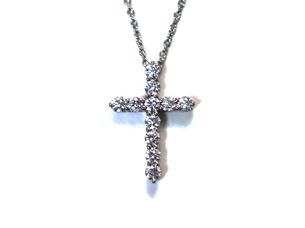 ティファニー スモールクロス  ダイヤモンド ペンダント ネックレス プラチナ 正面