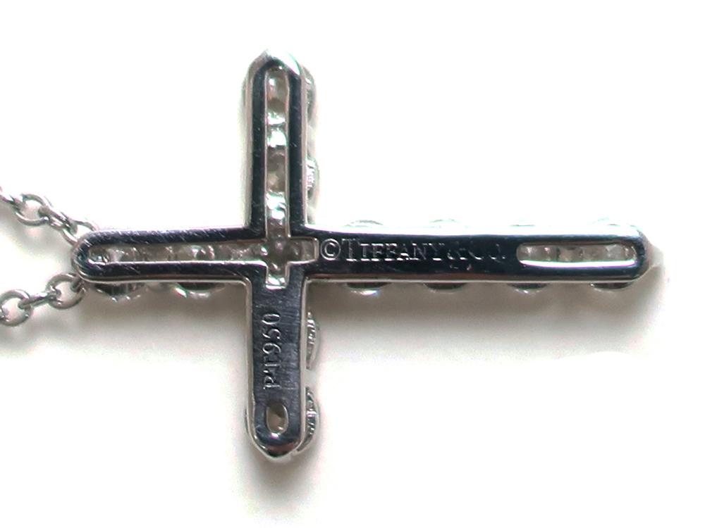 ティファニー スモールクロス  ダイヤモンド ペンダント ネックレス プラチナ 刻印03