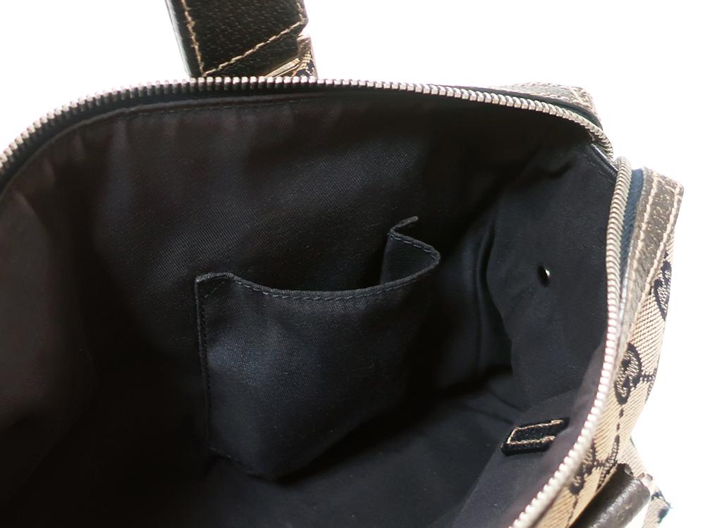 グッチ GGキャンバス ハンドバッグ 145759 ベージュ×ネイビー オープンポケット