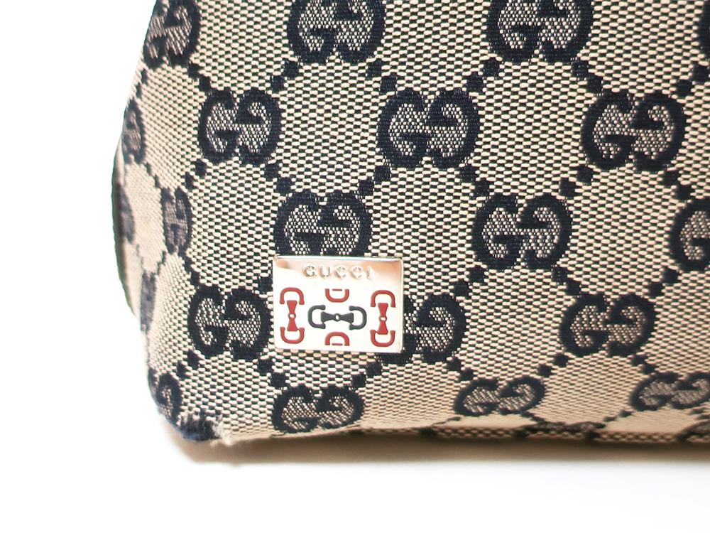 グッチ GGキャンバス ハンドバッグ 145759 ベージュ×ネイビー ロゴ