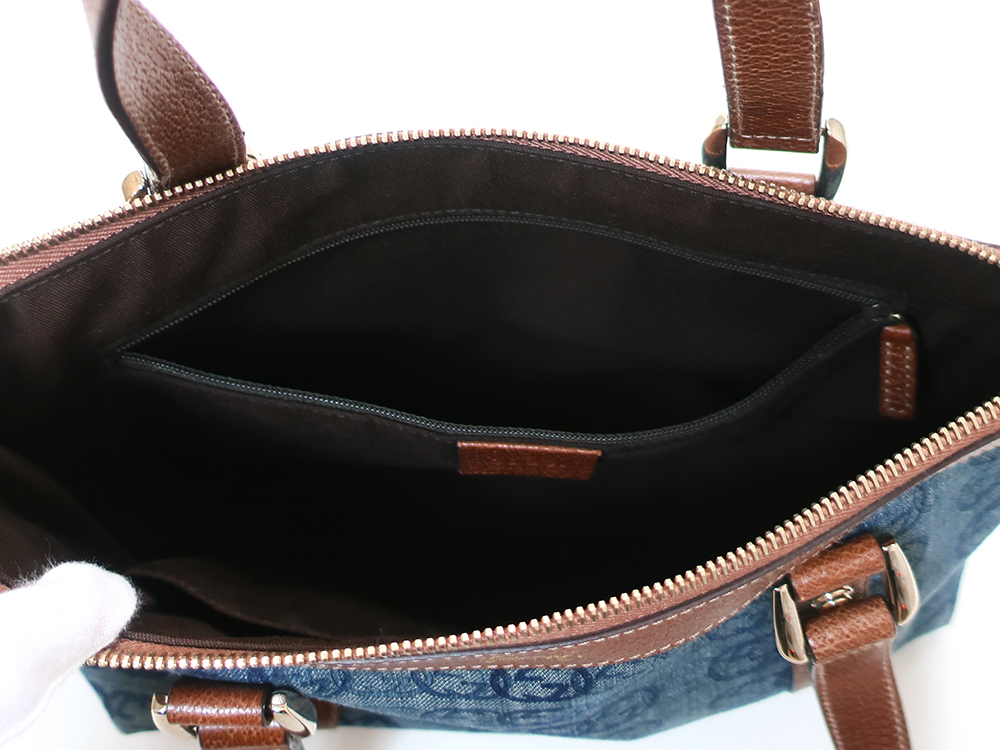 グッチ ダブルGデニム ハンドバッグ 141471 ブルー×ダークブラウン ファスナーポケット