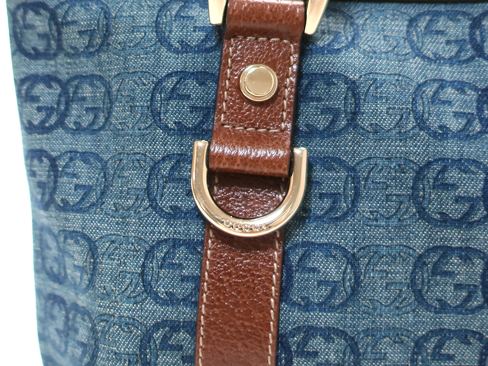 グッチ ダブルGデニム ハンドバッグ 141471 ブルー×ダークブラウン Dリング