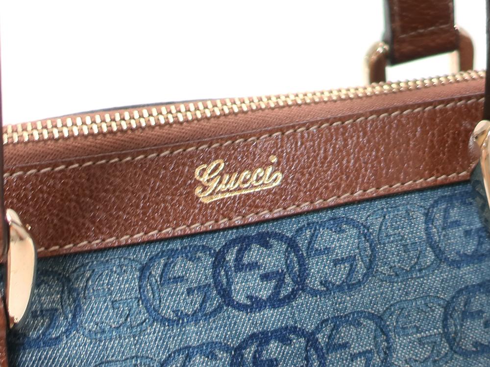 グッチ ダブルGデニム ハンドバッグ 141471 ブルー×ダークブラウン ロゴ