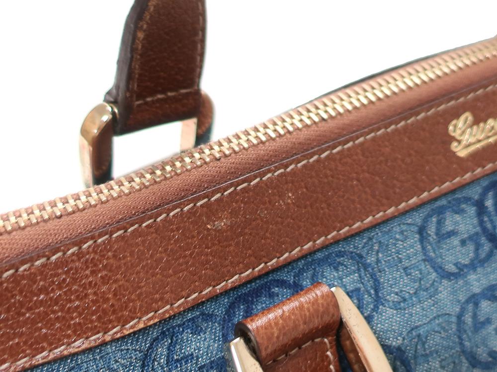 グッチ ダブルGデニム ハンドバッグ 141471 ブルー×ダークブラウン 外側ダメージ01