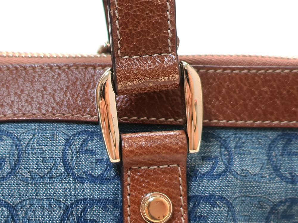 グッチ ダブルGデニム ハンドバッグ 141471 ブルー×ダークブラウン 外側ダメージ02