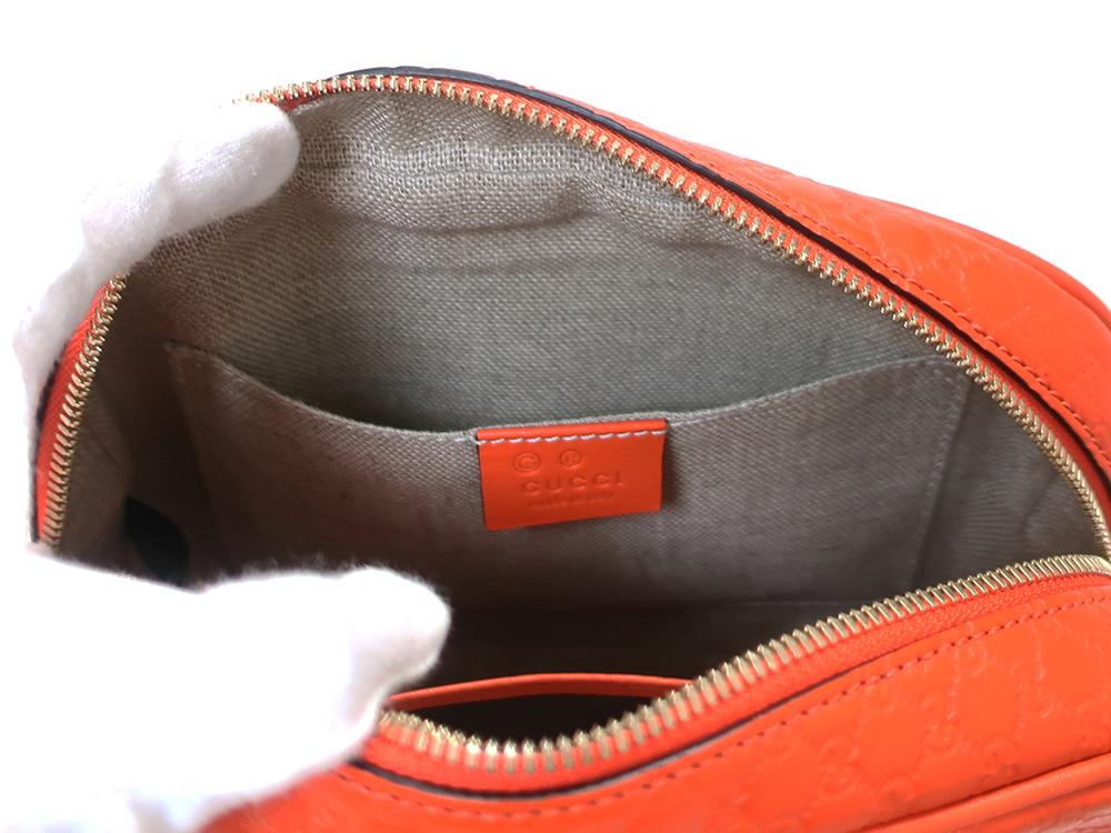 グッチ マイクログッチシマ ショルダーバッグ 449413 オレンジ オープンポケット01