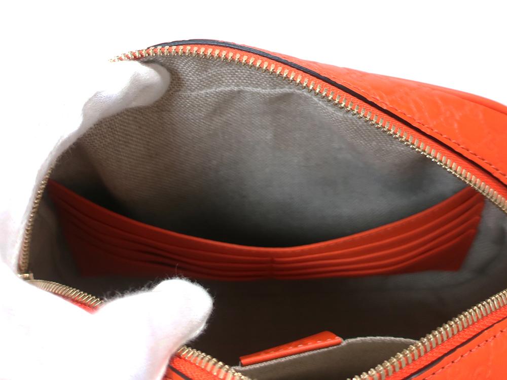 グッチ マイクログッチシマ ショルダーバッグ 449413 オレンジ オープンポケット02