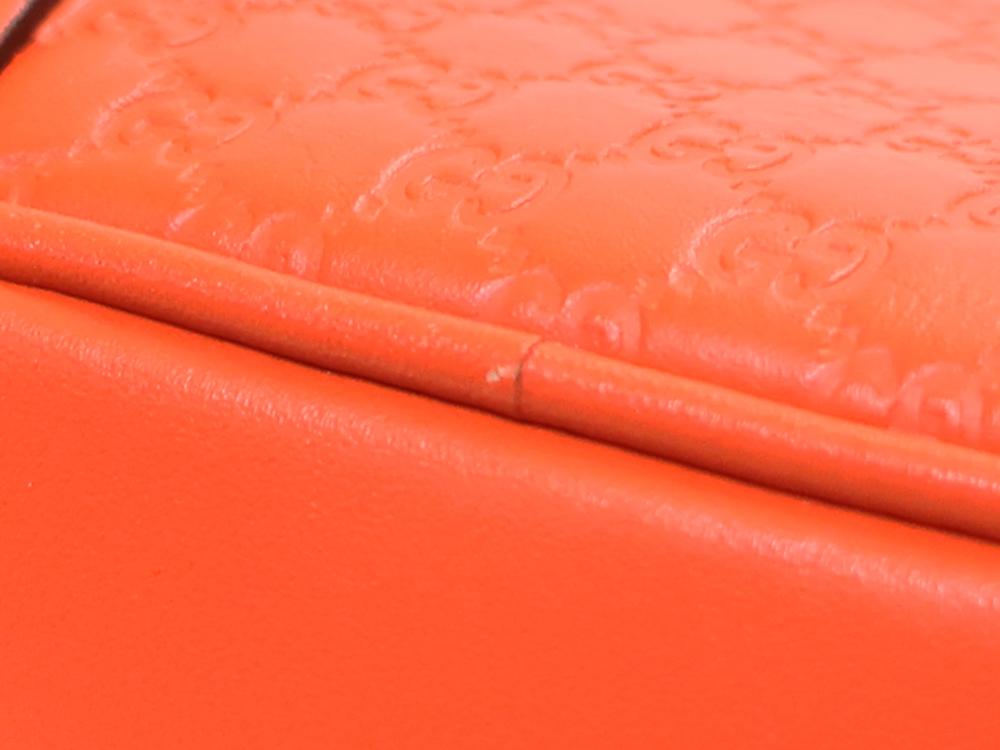グッチ マイクログッチシマ ショルダーバッグ 449413 オレンジ ダメージ