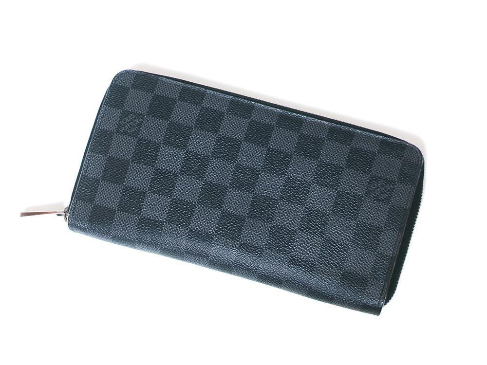 ルイヴィトン ダミエ グラフィット ジッピー・オーガナイザー 長財布 N63077 Bランク 上面