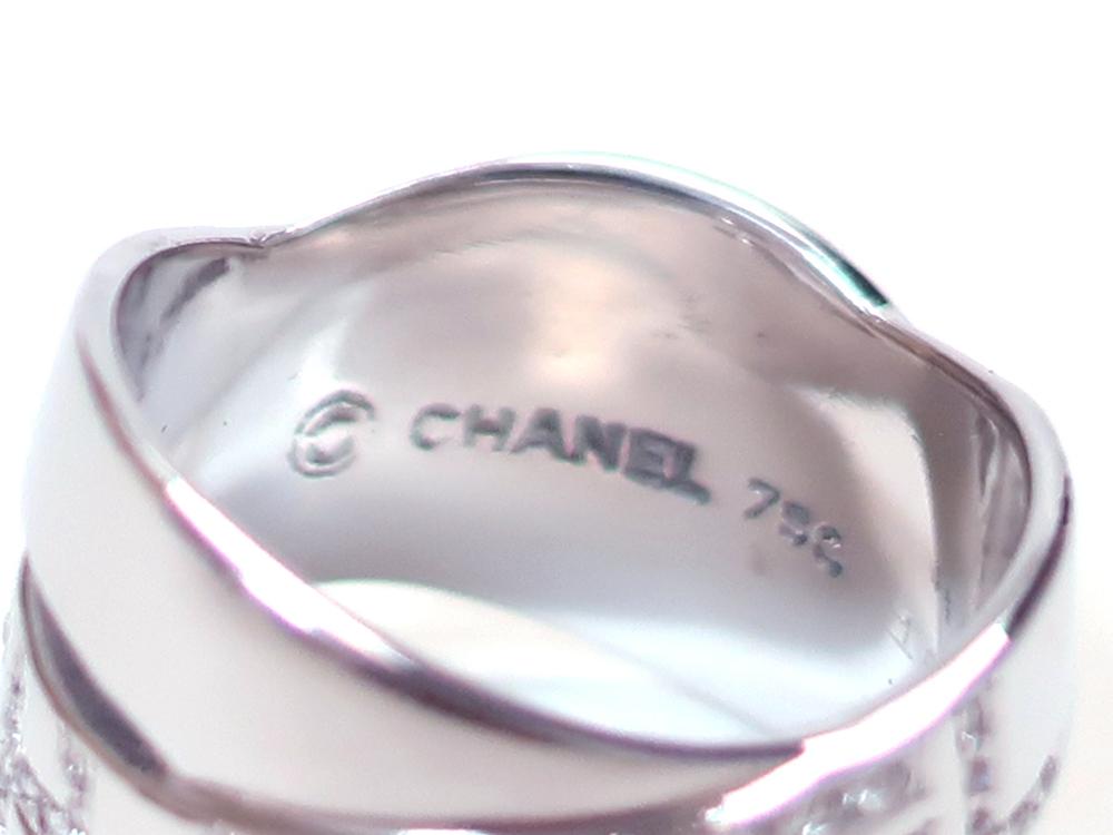 シャネル ホワイトゴールド ダイヤモンド ボルディックリング 刻印