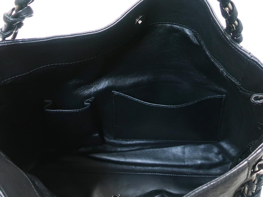シャネル ラグジュアリーライン ココマーク トートバッグ ブラック オープンポケット