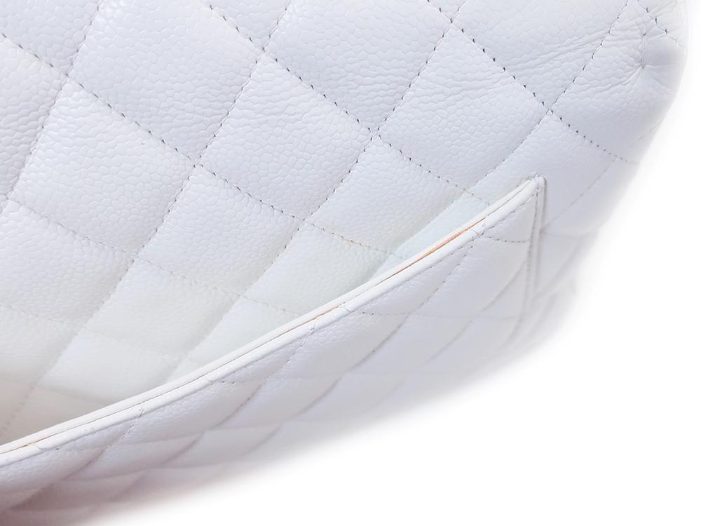 シャネル マトラッセ Wチェーン ショルダーバッグ キャビアスキン ホワイト A28600 外側ダメージ03
