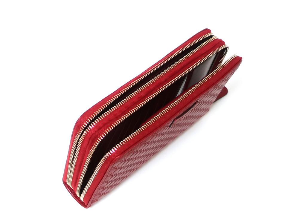 グッチ マイクログッチシマ トラベルドキュメントケース 長財布 レッド 544250 開口部開