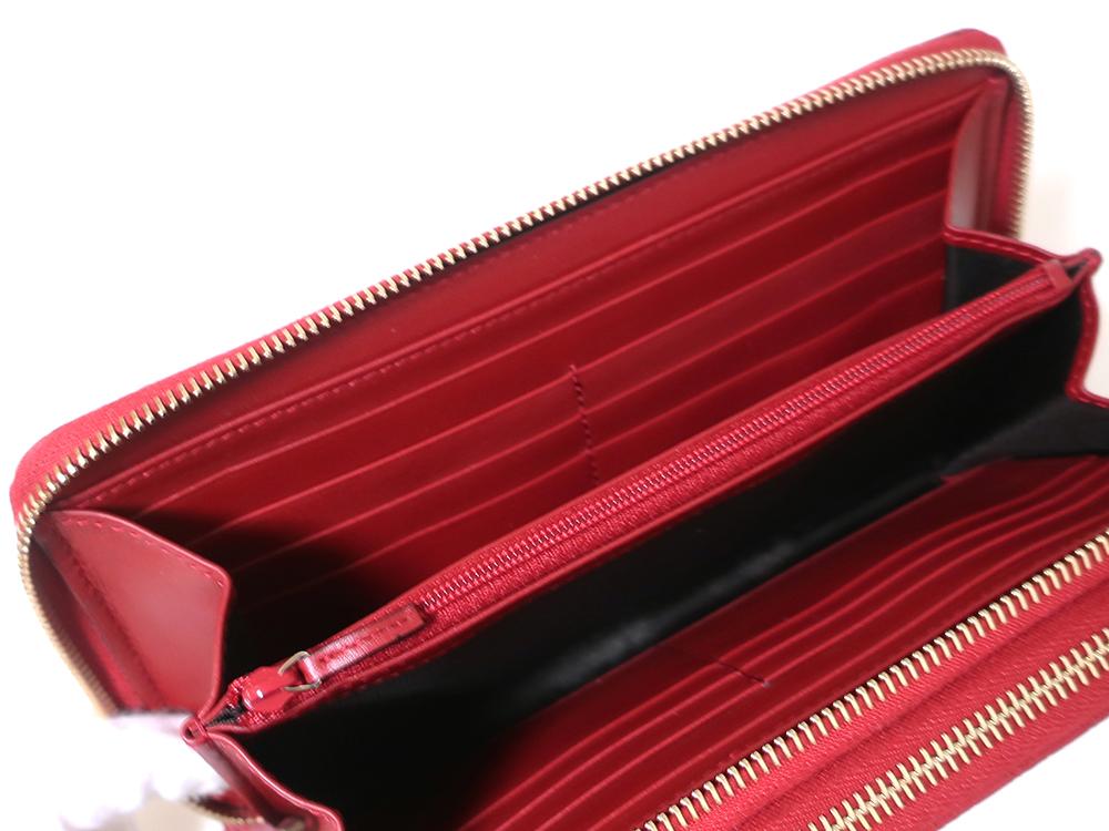 グッチ マイクログッチシマ トラベルドキュメントケース 長財布 レッド 544250 カード入れ01