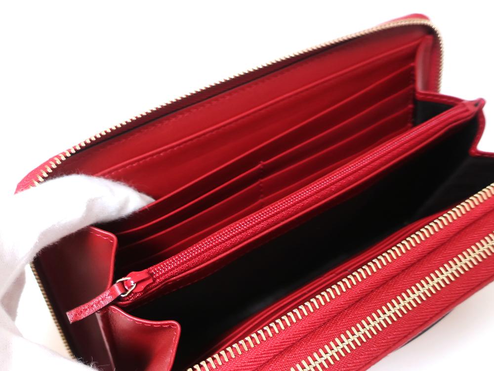 グッチ マイクログッチシマ トラベルドキュメントケース 長財布 レッド 544250 オープンポケット01