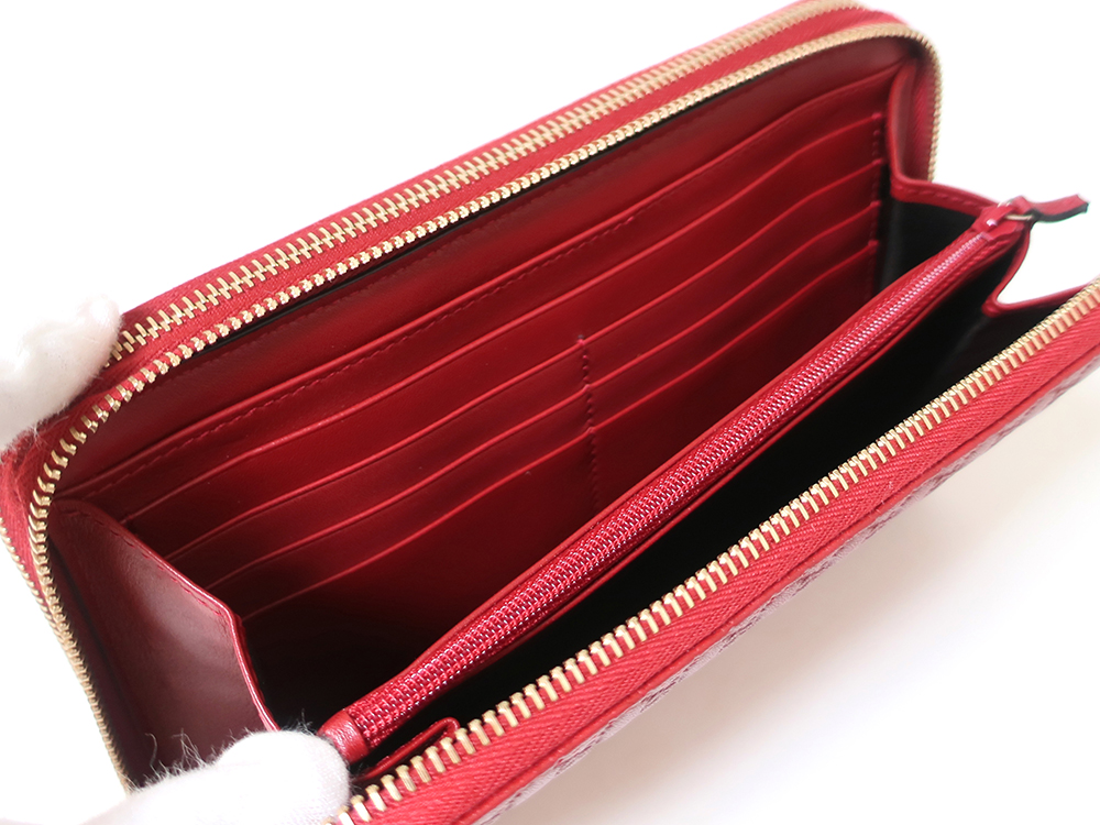 グッチ マイクログッチシマ トラベルドキュメントケース 長財布 レッド 544250 カード入れ02