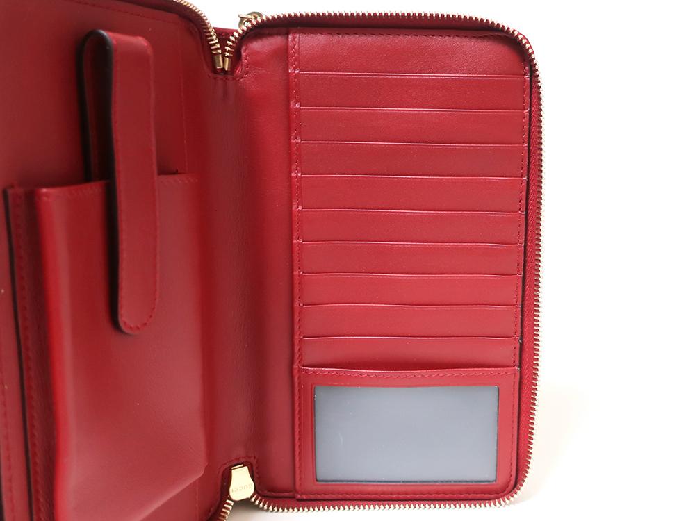 グッチ マイクログッチシマ トラベルドキュメントケース 長財布 レッド 544250 カード入れ03