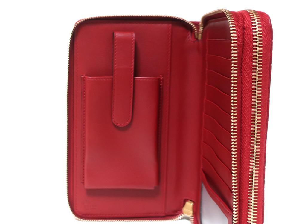 グッチ マイクログッチシマ トラベルドキュメントケース 長財布 レッド 544250 ボタン式スマフォポケット01