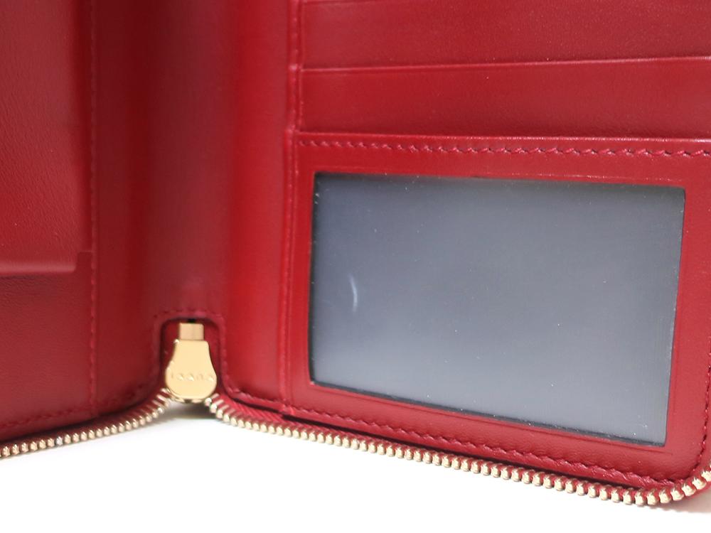 グッチ マイクログッチシマ トラベルドキュメントケース 長財布 レッド 544250 内側ダメージ