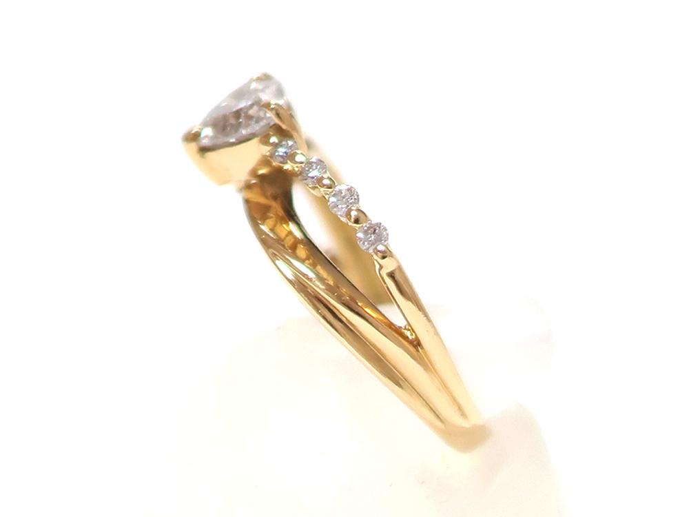 ジュエリー イエローゴールド ハートシェイプ ダイヤモンド リング ダイヤ0.53ct 側面01