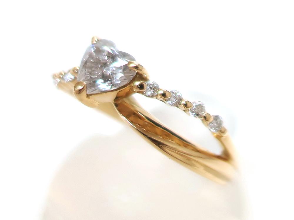 ジュエリー イエローゴールド ハートシェイプ ダイヤモンド リング ダイヤ0.53ct 特徴01